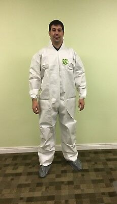 Tyvek Alt White Microporous Disposable Coverall Bunny Suit Hood Boots 25 Pc 4xl