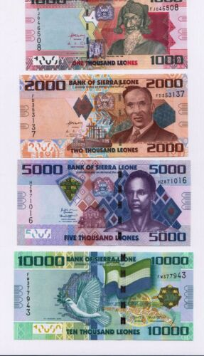 Sierra Leone : 1000, 2000, 5000,10000 Leones 2013-2018 UNC, Set of 4 Banknotes