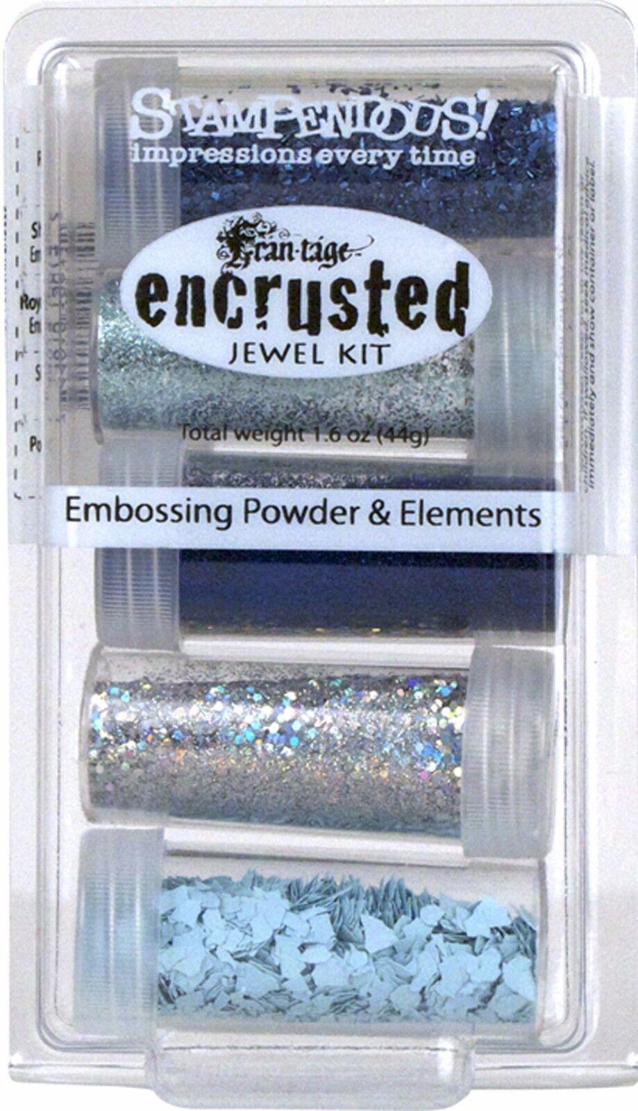 как выглядит Набор резиновых штампов Frantage Encrusted Jewel Kit Collection BLUE Embossing Element Stampendous NEW фото