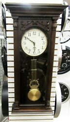 BULOVA HARMONIC TRIPLE CHIME 2  LARGE CARVED WOOD WALL CLOCK NORWOOD C3514
