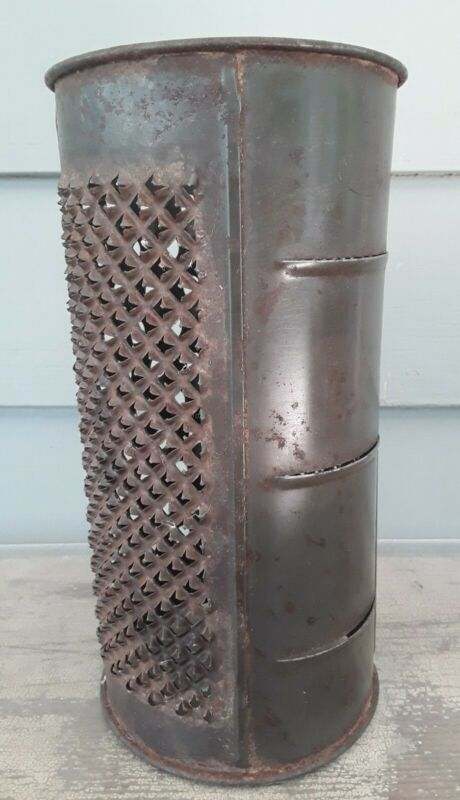 """Antique Round Punched Tin Kitchen Grater 4 in 1 Country Farm English 8 3/4"""" Tall"""