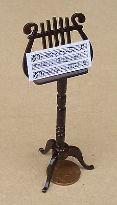 1:12 Scale Ornate Wooden Music Stand Dolls House Instrument Tumdee Accessory 559