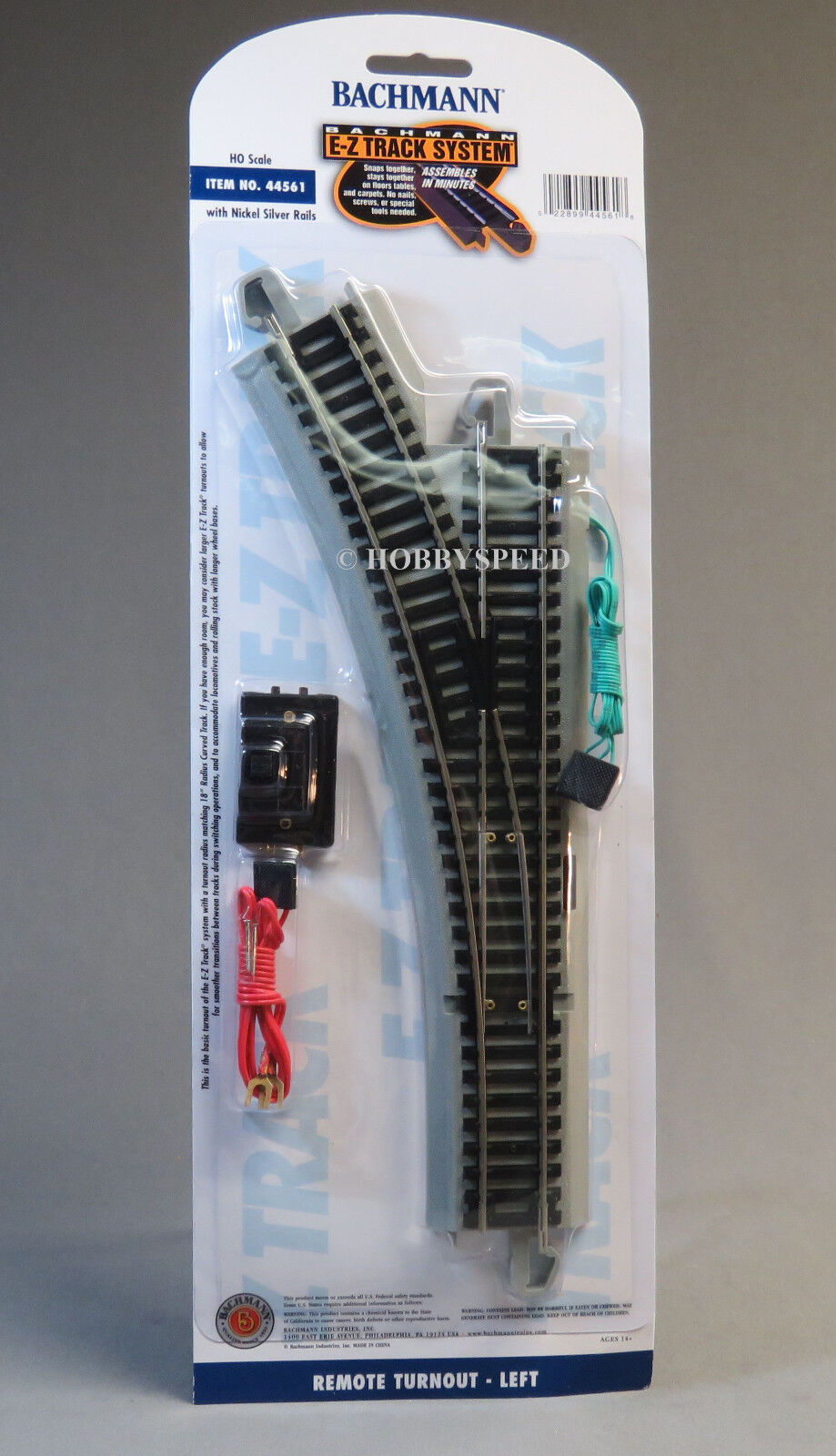 HO Scale Bachmann Trains Snap-Fit E-Z Track Remote Turnout -