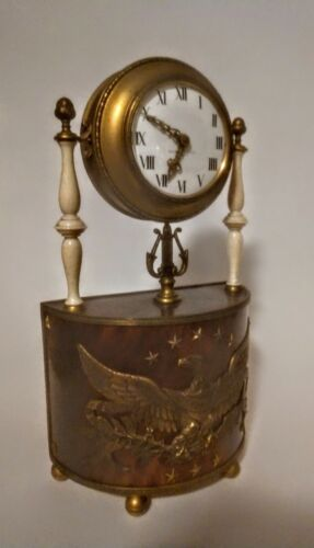 Attractive Signed E F Caldwell Desk Clock Patriotic Motif Waltham Movement