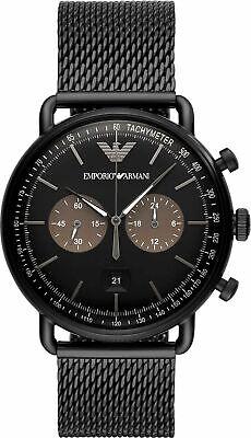Emporio Armani AR11142 Aviator Dress Men's Watch Black PVD Stainless (Aviator Apparel)