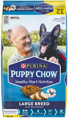 Purina Puppy Chow High Protein Large Breed Dry Puppy Food Real Chicken , 32 lb