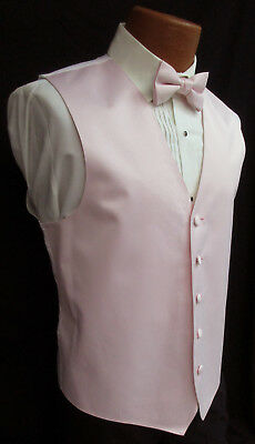 New Mens Light Pink Satin Fullback Tuxedo Vest & Tie Formal Wedding Prom Cruise  - Pink Tuxedo