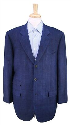GALTRUCCO by Isaia Navy Blue Woven 100% Raw Silk Italy Sportcoat Blazer 46R