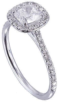 GIA H-SI1 14k White Gold Cushion Cut Diamond Engagement Ring Halo Deco 1.20ctw 8