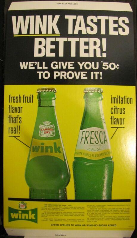 Wink Tastes Better ! Than Fresca Easel Back Sign C-4206 1969