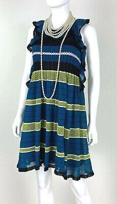Missoni New 6 US 42 IT M Blue Green Black Stretch Dress Slip Mesh Runway Auth