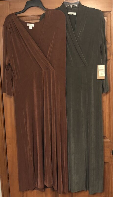 Coldwater Creek Womens Maxi Dress  Crossover Travel Knit Slinky Size Large