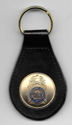 DEA LEATHER KEY TAG Special Agent * U.S. Drug Enforcement + 1 Free DEA Sticker