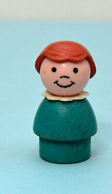 Vintage Fisher Price Little People WHOOPS Girl Turquoise with Light Brown Bob