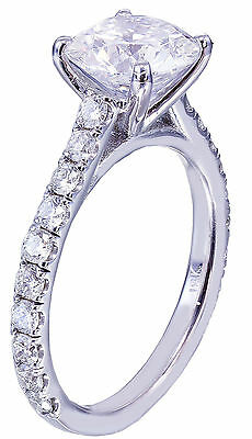 GIA H-SI1 18K White Gold Round Cut Diamond Engagement Ring Prong Bridal 1.50ctw