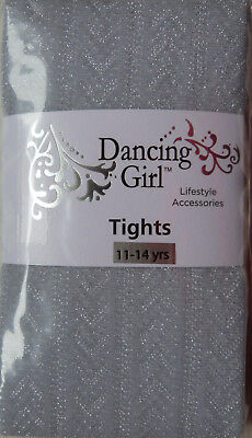 Dancing Girl Herringbone Pattern Tights Silver with Glitter for ages 11-14