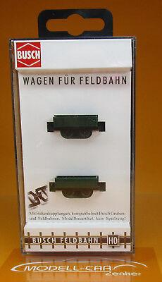 Busch 12211 H0f 2 Feldbahn-Wagen mit Rundholz Neu //OVP