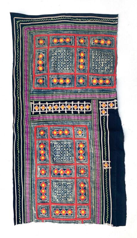 Vintage Hmong batik with applique Textile piece North Vietnam Ethnic Minority
