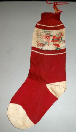 Vintage Rare Early Merry Christmas Stocking c. 1940s Like a Real Sock