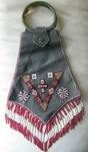 Vintage Navajo? Suede Leather Bakelite Handle Red Gold Bead Purse Bag Pouch MINT