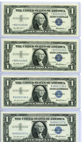 1957  $1 Silver Certificate Star Note 2 Consecutive and 2 1957 4 Notes..