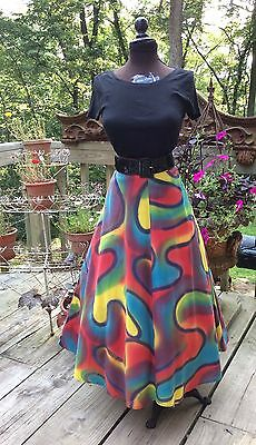 VINTAGE 1950's NOVELTY MOD PAINTED MEXICAN FULL SKIRT 26W