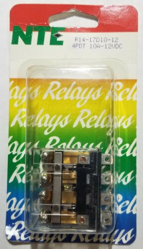 NEW NTE R14-17D10-12 12 Volt DC Coil, 10 Amp 4PDT General Purpose Relay