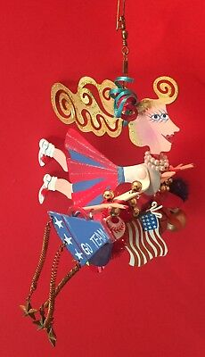 CHEERLEADER ORNAMENT Whimsical Metal with Charms for Christmas Tree or Cool - Cheerleader Christmas Gifts