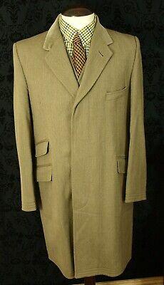 Classic Vintage Tweed Velvet John G Hardy Covert Coat Overcoat Size 40 Medium