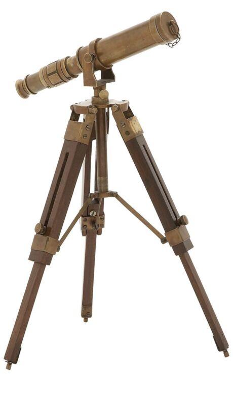 Deco 79 Timeless Brass Wood Telescope
