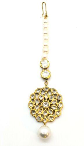 18KT Yellow Gold Matha Tikka In Kundan Uncut Diamond Polki