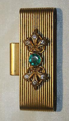 Gürtelschnalle-vergoldet m. grünem Stein-figürliche Handarbeit-Metallfassung