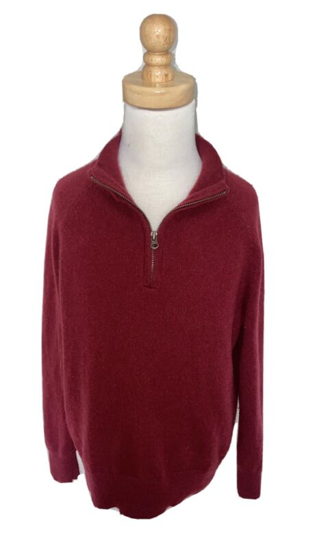 J.Crew Crewcuts 100% Boys Cashmere half-zip sweater Dark Red Burgundy Size 6/7