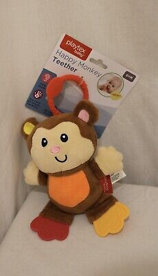 New Playtex Baby Happy Monkey Teether Toy  Brown multi