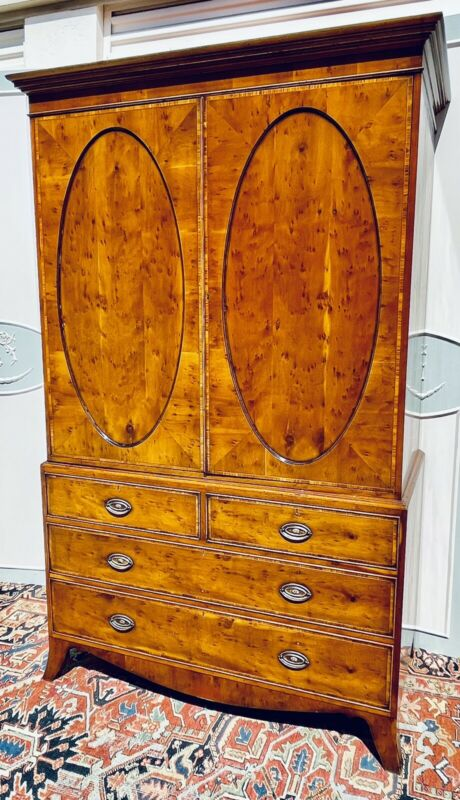 BEEVIN & FUNELL Inlaid Yew Linen Press /Armoire / George iII Style