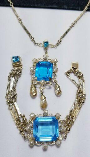 Vintage Art Deco Czech Aquamarine Pearl Necklace Bracelet Set