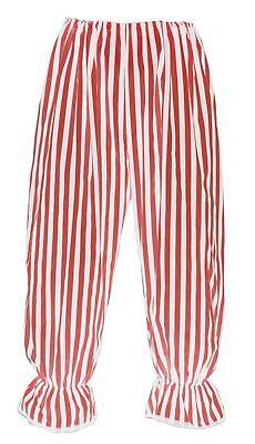 Clown Bloomers (Adults Long Clown Red & White Vertical Stripe Fancy Dress)