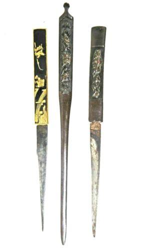 Lot of 3 ANTIQUE JAPANESE Kozuka (2)  & Kogai (1)