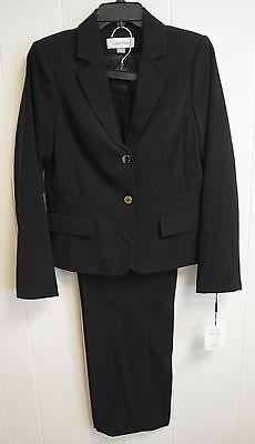 NWT Calvin Klein Women's Solid Black 2-Piece Career Pant Suit Set Size 4 $280