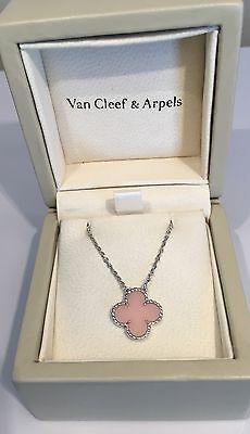 Van Cleef & Arpels 18K WG Vintage Alhambra Pink Opal Necklace Box Papers