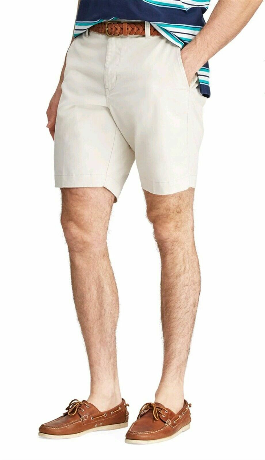***NEW CHAPS CLASSIC-FIT COTTON STRETCH FLAT FRONT SHORTS STONE MEN'S SIZE 42 Clothing, Shoes & Accessories
