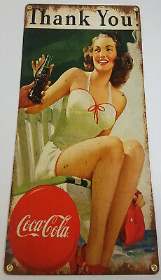 COCA COLA THANK YOU YOUNG GIRL SWIMSUIT COKE HEAVY DUTY METAL ADVERTISING SIGN