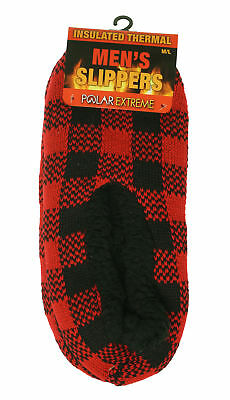 Polar Extreme Heat Men's Insulated Thermal Fleece Lined Slippers Red Checkered  - Polar Slippers