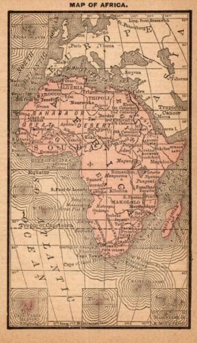1888 Antique AFRICA Map RARE MINIATURE Vintage Map of Africa 8839