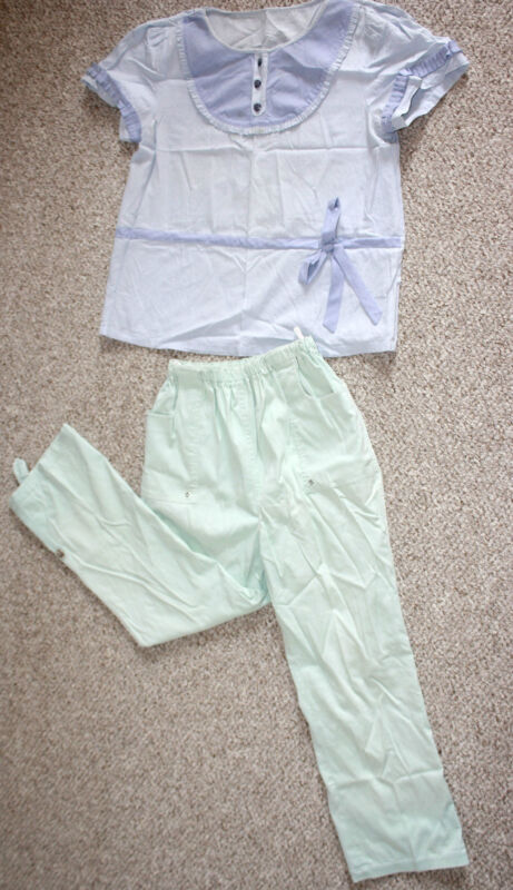Maternity set Shirt Top Clothes Outfit Cotton Adjustable Length Pants GREEN BLUE