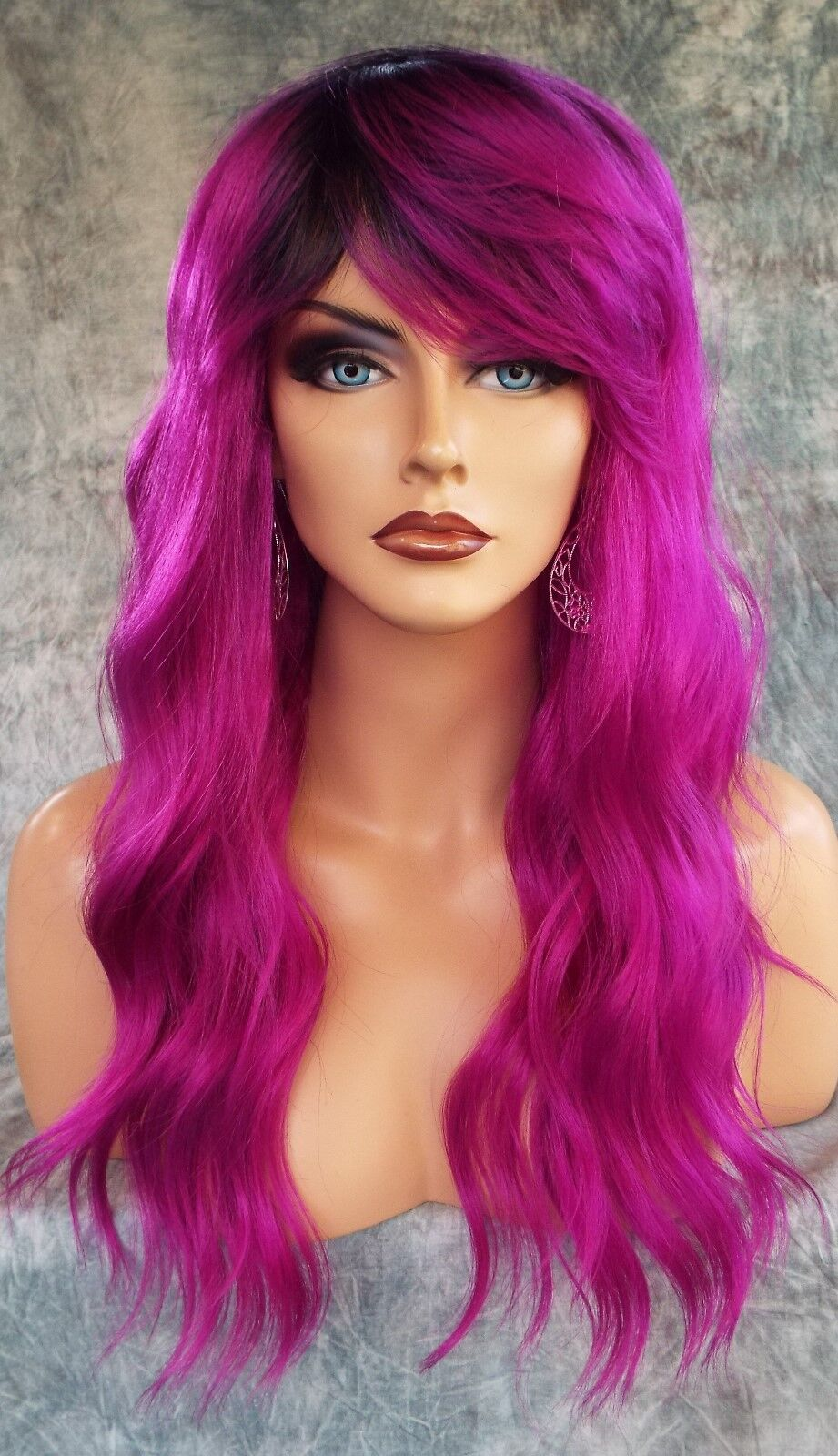9ccae7179 LONG CURLY COSTUME WIG HALLOWEEN PARTIES FANTASY *ROOTED PLUM NITE 1077