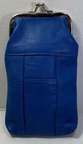 NEW CIGARETTE CASE / POUCH GENUINE LEATHER BLUE KISS LOCK CLOSURE REG & 100