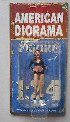 "TEAM PINK PADDOCK GIRL w SIGN AMERICAN DIORAMA 1:24 Scale FEMALE LADY 3"" Figure"