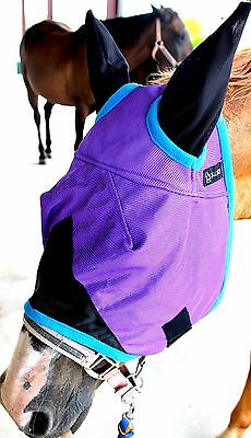 Equine Horse Fly Mask Summer Spring Airflow Mesh UV Mosquitoes Purple TURQ 73260
