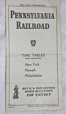 Pennsylvania Railroad Timetable Between New York & Philadelphia November 5, 1944